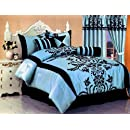 7 Pc Modern Black Blue Flock Satin Comforter 90 X 92 Set Bed In A Bag   Queen Size Bedding