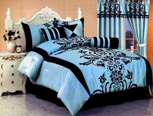 7 Piece Bedding Flock Comforter Set Light Blue / Black Bed-In-A-Bag Full Size (Double) front-1019088