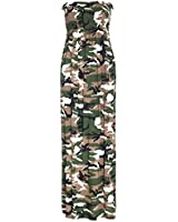 Oops Outlet Women's Printed Gathered Boobtube Bandeau Sheering Long Maxi Dress