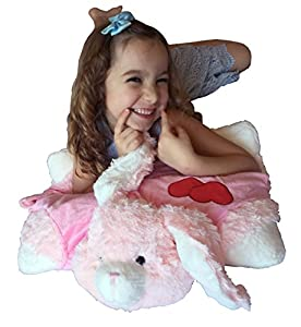 Love Pink Bunny Zoopurr Pets 2-in-1 Stuffed Animal and Pillow Large 19
