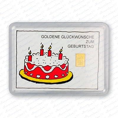 """Goldbarren 1g 1 g Gramm Motivbox """" Geburtstag (Torte) """" Gold Barren + Zertifikat von der Marke Securina24"""