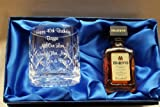 Personalised 8oz Crystal Glass & Disaronno Amaretto in Silk Gift Box 18th/21st/30th/40th Birthday Gift Miniature
