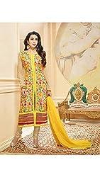 Diya Women's Yellow Georgette Designer Dress Materials [DS_JCN1016]