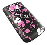 Emartbuy® Pink Clover Premium PU Leather Pouch / Case / Sleeve / Holder ( Size Small ) With Pull Tab Mechanism Suitable For Sony Ericsson T303