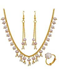Nisa Pearls Combo Of 1Necklace Set 1Ring - B00S5X0NW4