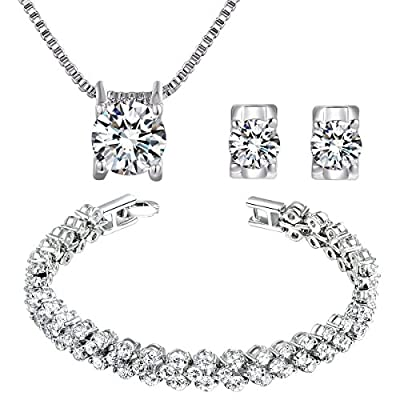 Qianse 'White Zircons White Gold Plated Set QIANSE is Swarovskis' Authorized Dstributor