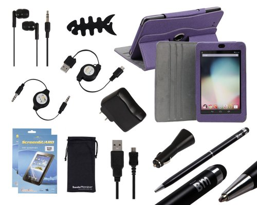 Bundle Monster 12in1 Case, Wall + Car Charger, USB/AUX Cables, Stereo Handsfree Earbuds, 2in1 Stylus Pen, Screen Protector Accessory Set for Google Nexus 7 Tablet, COLOR: EGGPLANT PURPLE