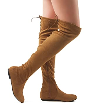 ROF Women Fashion Comfy Vegan Suede Side Zipper Over the Knee Boots CAMEL (9)