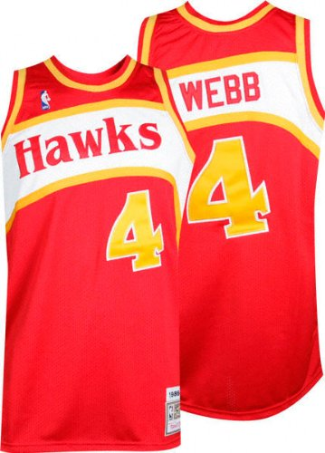 Spud Webb Jersey: adidas Red Throwback Swingman #4 Atlanta Hawks Jersey