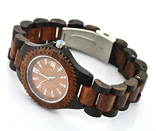 Topwell� Wood Watch Natural Wooden Wood Wrist Date Watch For Men Black and Brown Natural Sandal Wood Quartz Watch Men Casual Vintage Wooden Wristwatch Japan Movt Men's Watches Gift Giving Watch