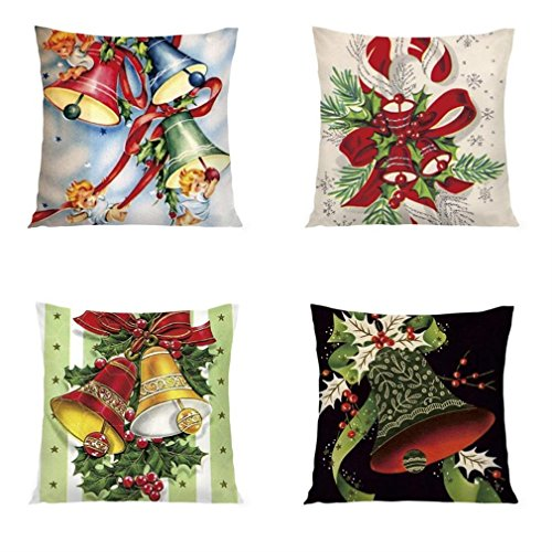 Rinhoo 4 Pack 18x18 Inches Christmas Holiday Decorative Throw Pillow Cover Christmas Decoration (Bell)