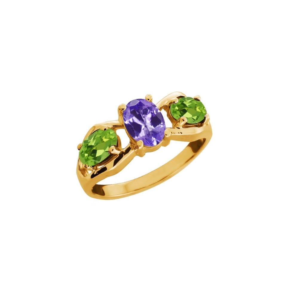 1.75 Ct Oval Blue Tanzanite and Green Peridot 10k Yellow Gold Ring