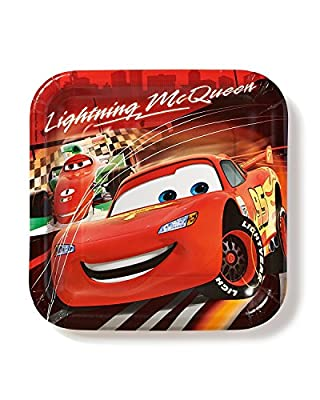 Cars 9 in Square Plate, Pack of 8, Party Supplies
