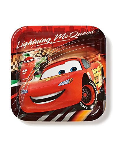 "American Greetings Cars 9"" Square Plate, 8 Count, Party Supplies Novelty - 1"