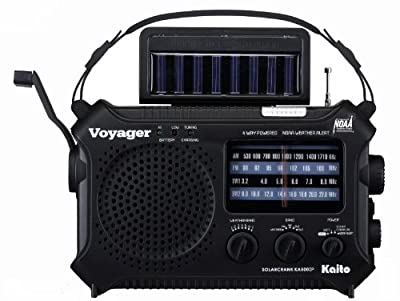 Kaito Voyager KA500IP Solar/Dynamo AM/FM/SW NOAA Weather Radio with Alert & Cell Phone (iPod/iPhone) Charger, Color Black from Kaito