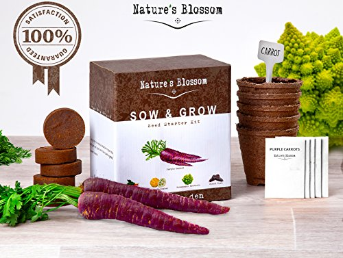 Grow 5 Spectacular Vegetables with Nature's Blossom Grow Kit. Unique Gift Idea for Men, Women and Children. Growing a Vibrant Organic Garden Has Never Been Easier ... (Edible Fruit Kit compare prices)
