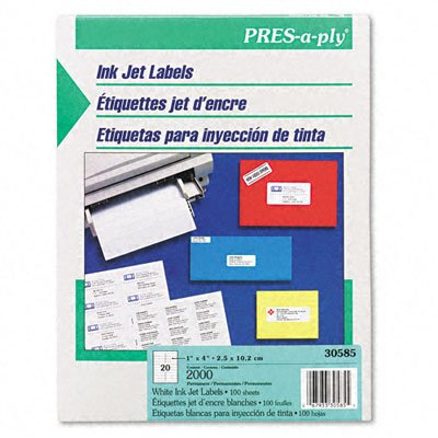 Pres-A-Ply Inkjet Address Labels, 1 X 4 Inches, White, Box Of 2000 (30585)