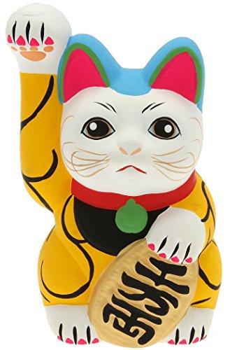 Kotobuki Maneki Neko Lucky Cat Coin Bank with Karakusa Spiral Vine Pattern, Yellow - 1
