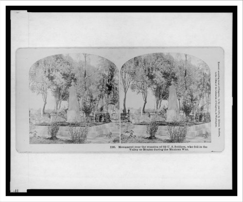 Stereoview (L): Monument over the remains of 750 U.S. soldiers who fell in the valley of Mexico dur