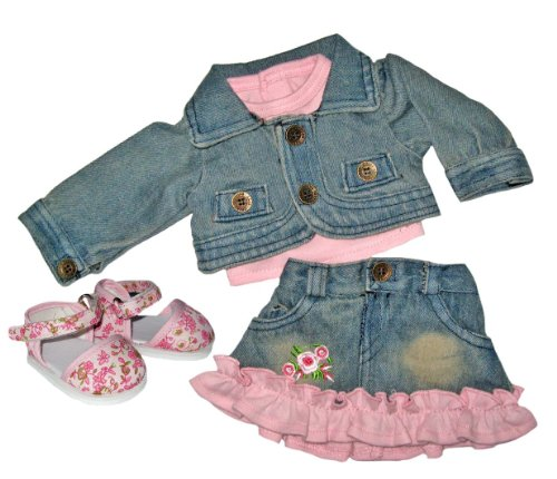 Denim Crop Jacket, Tee, Skirt, and Pink Floral Shoes. Doll Clothes Fit 18