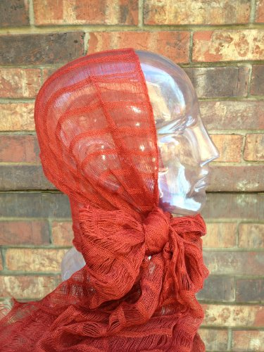 Inspirit Arts Sheer Solid Rust, Headwrap,Handwoven Lightweight Cotton, Gauze-Like Open Net Weave, See-Through Headwrapping Hair Scarf, Bandana, Hair Tie,Turban, Lock Sock, Chemo Cap, Head Cover front-488235