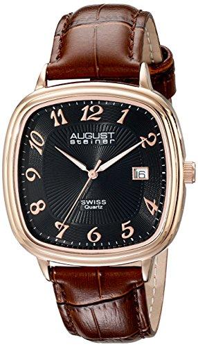 August Steiner Mens AS8155RGBR Analog Display Swiss Quartz Brown Watch