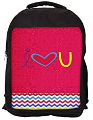 Snoogg I Love You Minimal Backpack Rucksack School Travel Unisex Casual Canvas Bag Bookbag Satchel