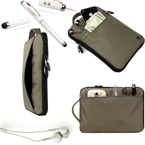 Itomic Accessories From Vangoddy Presents Our Exclusive Hydei Padded Protective Carrying Case Cover In Slate **Fits The Itomic Imid77T** + Gray Noise Cancelling Itomic Imid77T Compatible Ear Buds + 3 In 1 Capacitive Tipped Stylus (Led Flashlight And Laser