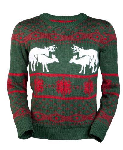 Jingleballz Men's Sexy Reindeer Sweater -XXL Green