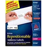 Avery White Repositionable Address Labels for Laser Printers, 1 x 2.625 Inches, Box of 3000 (55160)