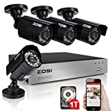 ZOSI 4CH 720P AHD Security Camera System with 4 Weatherproof 3.6mm Lens 20m Night Vision 720P Security Cameras 1TB Hard Disk Support Smartphone Scan QR Code Quick Remote Access