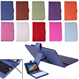 "HDE Hard Leather Folding Folio Case Cover with Keyboard for 7"" Tablet (Blue)"