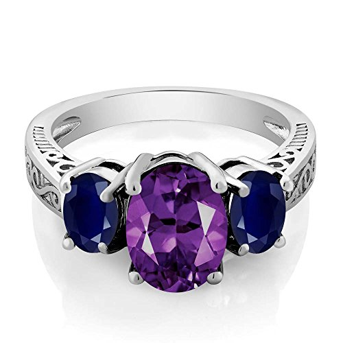 Sterling Silver Purple Amethyst & Blue Sapphire 3-Stone Ring