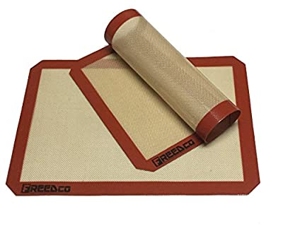 """Freedco 2 Piece Non-Stick Silicone Baking Mat, Cookie Sheet Size 11 5/8"""" x 16.5"""", Thick 0.75mm for Long Lasting"""