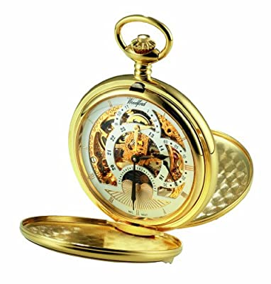 Woodford Pocket Watch 1051 Gold Plated Twin-Lid Two Time Zone