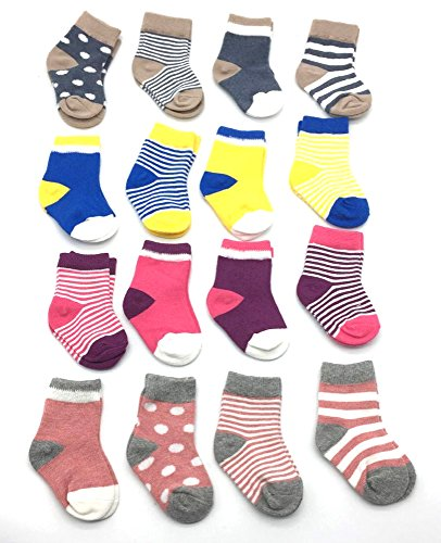 LUXEHOME (YR1607) Cozy 4 Style Baby Toddler Socks,16 Pairs per Pack (S 6-12 Month)