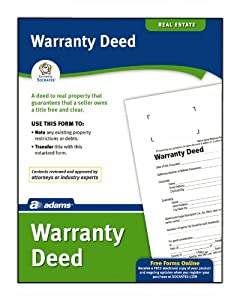 Adams Warranty Deed Form, 8.5 x 11 Inch, White (LF602)