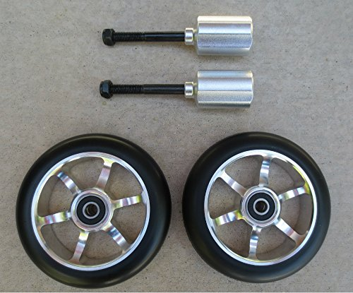 DIS 110mm silver metal core scooter wheels and pegs set (pair - 2 wheels and 2 pegs)