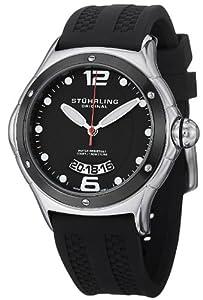 "Stuhrling Original Men's 478.33D61 ""Champion Alpine Slope"" Stainless Steel Watch with Black Rubber Strap"