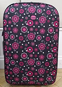 Medium 62 lts Travel Luggage suitcase On Wheels Floral print Black and Pink EXPANDING trolly Light Weight