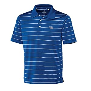 NCAA Mens Kentucky Wildcats Tour Blue White Drytec Sweeten Stripe Tee by Cutter & Buck