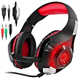 GM-1 Gaming Headset for PS4 Xbox One PC Tablet Cellphone, Stereo LED Backlit Headphone with Mic by AFUNTA-Red