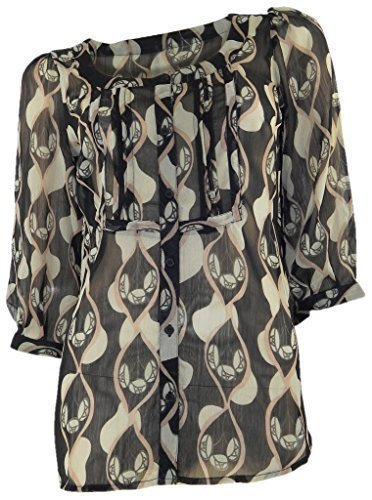 marks-spencer-sheer-chiffon-black-fawn-print-tunic-3-4-sleeves-8