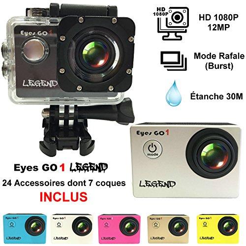 Eyes GO 1 LEGEND - 12MP - + 23 accessoires inclus dont 7 coques de couleur livrées - Marque française - FULL HD 1080p - Camera sport - Boîtier étanche 30 mètres - Écran LCD 1,5 pouces -