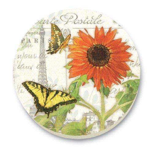 CounterArt Sunflower Postcard Round Stone Trivet, 6-Inch