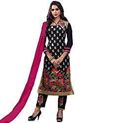 Awesome Fab Black Chanderi Cotton Semi-Stiched Embroidered Salwar Suits