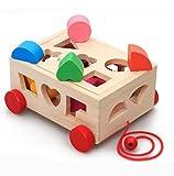 木のおもちゃ トラクター 形合わせ ボックス はめこみ パズル ひきずる 幾何認識 幼児 知育玩具