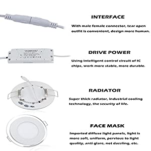 10W Recessed Round LED Ceiling Panel Light Acrylic Dual Ring Downlight by Sunix