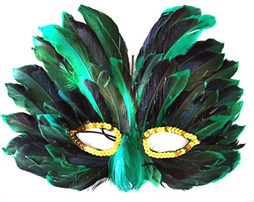 Venetian Green Feather Mask with Gold Eyes Mardi Gras Costume Prom