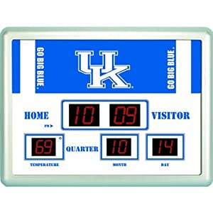 Kentucky Wildcats NCAA Scoreboard Clock & Thermometer (14x19) by Team Sports